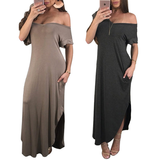 Double Side Split Casual Loose Streetwear Summer Slash Neck Short Sleeve Solid Vestido Lady Backless Irregular Maxi Robe K9203