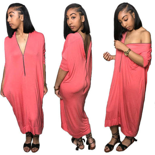 Front Zipper Casual Maxi Dress Feme Summer V Neck Half Sleeve Loose Ankle Length Vestido Pink Batwing Pockets Long Robe  JH009