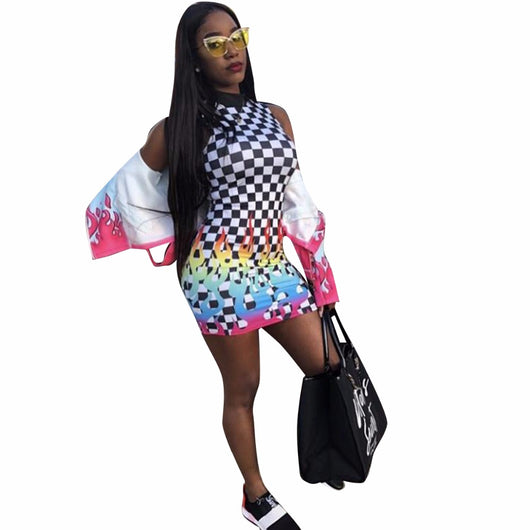 2018Fashion Black White Plaid Splice Sexy Pencil Dress Women Summer O Neck Sleeveless Mini Vestido Rainbow Print Slim Robe JH003