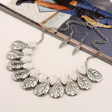 LZHLQ Vintage Leaf Pendants Necklaces  Women Alloy  Plated Mosaic Necklace 2017 New Fashion Maxi Jewelry Water Drop Statement