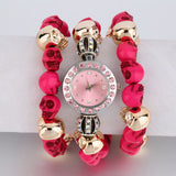 OUTAD Winding Bracelet Quartz Skull Crystal Bracelets Unique Design Watch Wrist Watches Blue/Red/Purple Color relogio feminino