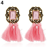 Fashion Women Shiny Rhinestone Tassel Dangle Ear Stud Statement Earrings Jewelry orecchini Brincos aretes