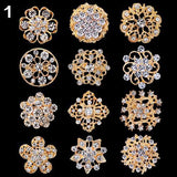 12Pcs Flower Hollow Shiny Rhinestone Wedding Bridal Scarf Brooch Pins Xmas Gift Hijab Scarf Broches Coat Sweater Wedding Clips