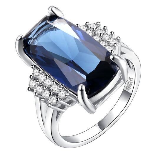 Elegant Wedding Bridal Party Accessory Women Oblong Zircon Inlaid Ring Jewelry