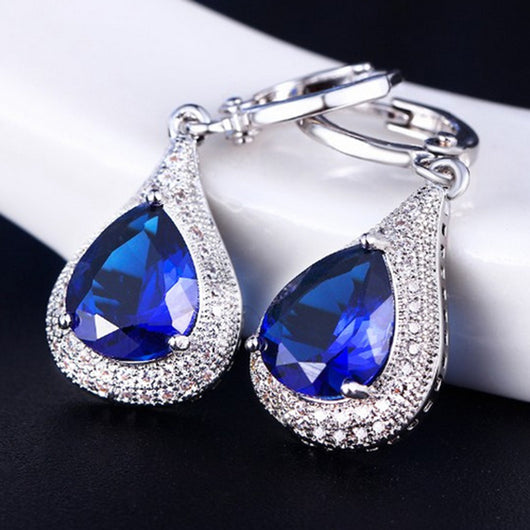 Elegant Rhinestone Dangle Teardrop Silver Plated Huggie Earrings Wedding Jewelry