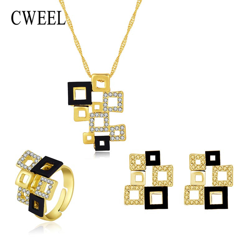 CWEEL Bridal Wedding Jewelry Sets For Women Geometric Square African Beads Jewelry Set Pendant Imitation Crystal Jewellery Set