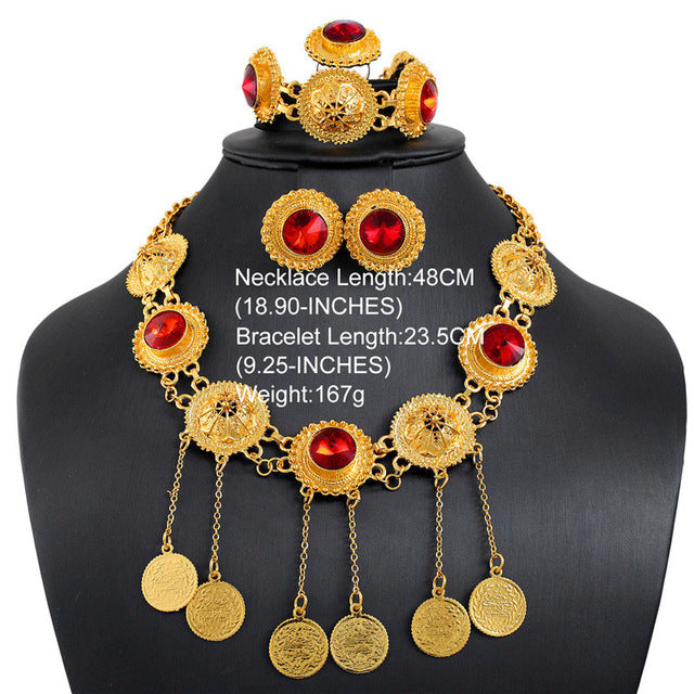 CWEEL Jewelry Sets For Women Imitation Crystal Wedding African Beads Jewelry Set in Gold Color Luxury Necklace Set Jewellery