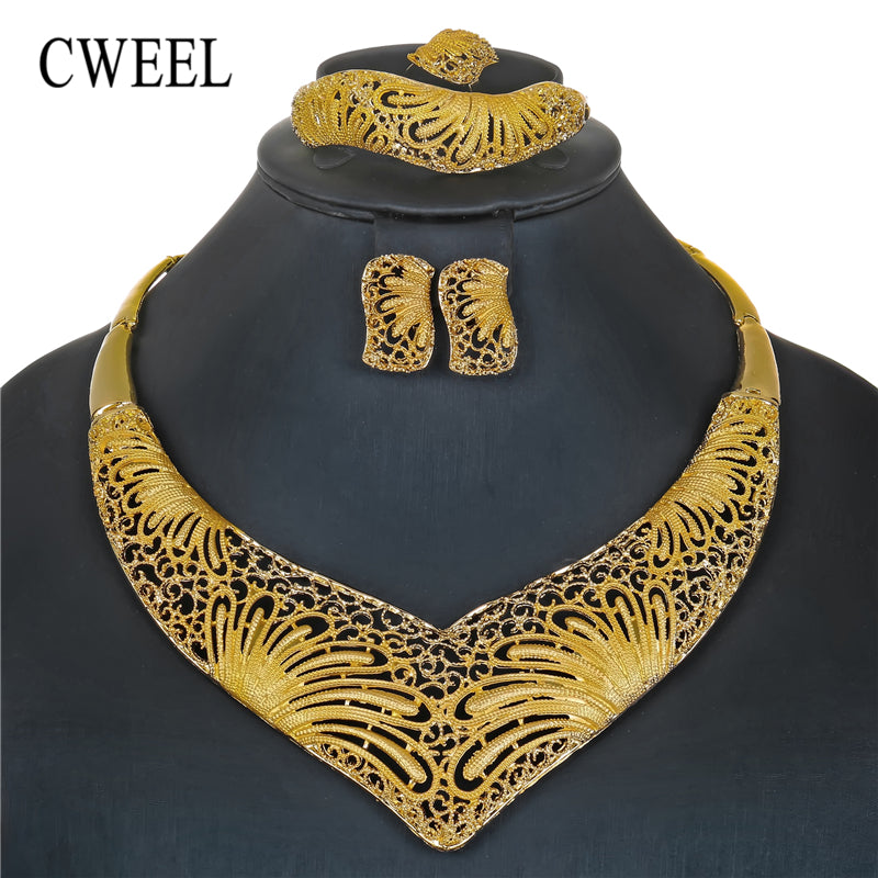 CWEEL Jewelry Set New Fashion Jewelry Sets Golden Color Party Women Jewelry Set Excellent Quality Wedding Jewellery