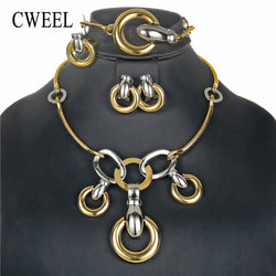 CWEEL Jewelry Sets Gold Color Costume Nigerian Wedding African Beads Jewelry Set For Women Vintage Turkish Jewelry