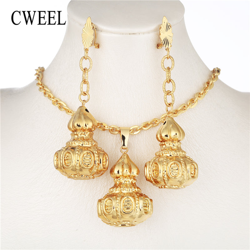 CWEEL African Beads Jewelry Set Bridal Fashion Jewelry Sets Women Gold Color Costume Jewelry Indian Wedding Necklace Set
