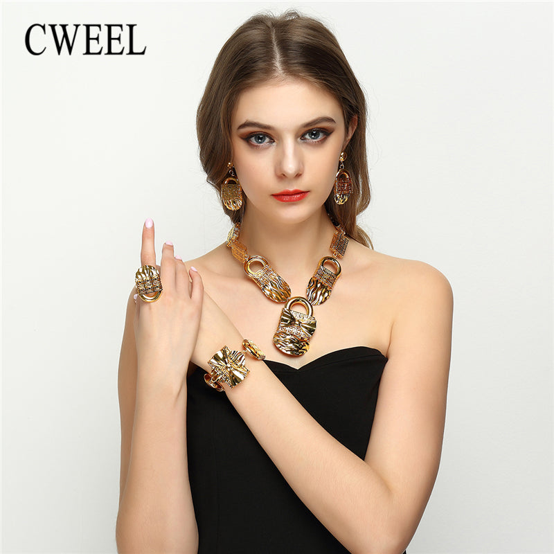 CWEEL Women Jewelry Sets Ethiopian African Beads Jewelry Set Turkish Necklace Earrings Rings Wedding Bridal Jewelry Set