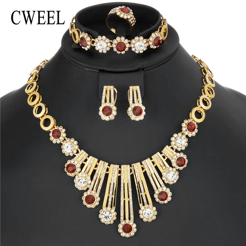 Jewelry Sets For Women Wedding African Jewelry Set Imitation Crystal Nigerian Beads Necklace Luxury Bridal Jewellery Set