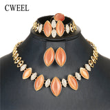 Opal Jewelry Sets For Women Wedding Bridal Dubai African Beads Jewelry Set Nigerian Bead Imitation Crystal Cheap Jewellery