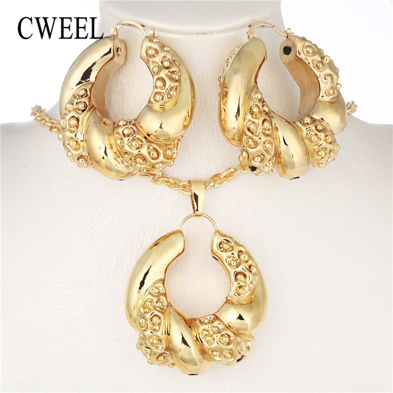 African Beads Jewelry Set Dubai Wedding Jewelry Sets For Women Vintage Costume Jewelry Gold Color Nigerian Necklace Set