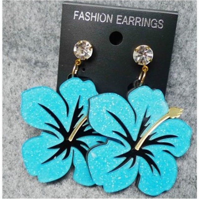 Wholesale 5 Pcs Lady Acrylic Crystal Plant Flower Sweet Pendant Earring Hot Cute Fashion Stud Earrings Women Jewelry Duftgold
