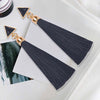 Image of Wholesale Ethnic Bohemia Long Tassel Silk Earrings Hanging Drops Statement Fringe Resin Stud Earrings for Women Duftgold