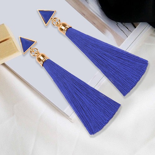 Wholesale Ethnic Bohemia Long Tassel Silk Earrings Hanging Drops Statement Fringe Resin Stud Earrings for Women Duftgold