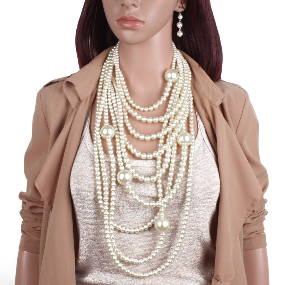 Wholesale 5 Pcs Multilayer Luxury Imitation Pearl Jewelry Sets Strand Beads Maxi Long Statement Necklace Costumed Earrings Women