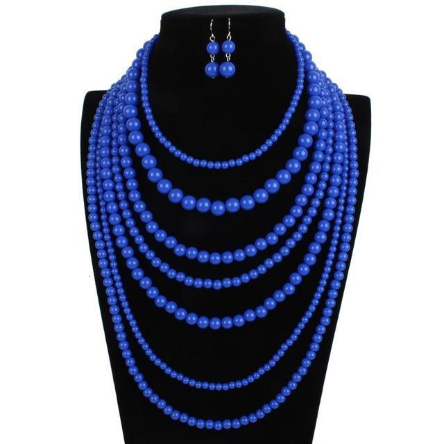 2018 New Exaggerated Multi Layer Candy Long Sweater Strand Necklace and Earrings Boho Beaded Bohemian Jewelry Sets for Women