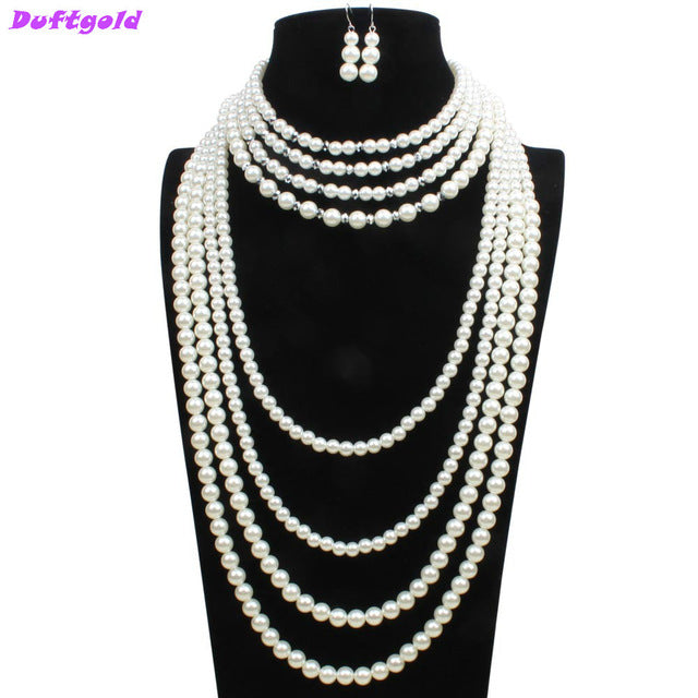 Exaggerated Layered Large Big Pearl Jewelry Sets Strand Beaded Necklace and Earrrings Set Crystal Sweater Chain Women Duftgold