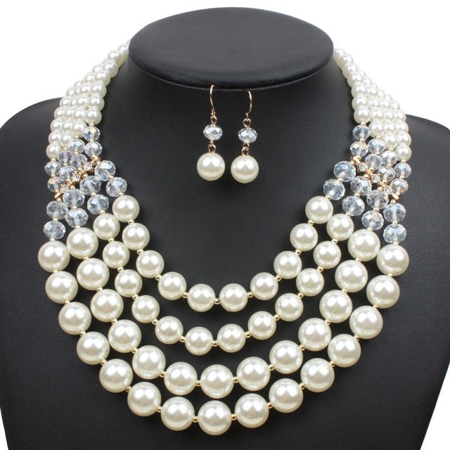 a75023e3d1 ... Fashion Imitation Pearl Jewelry Sets Women Wedding Red Pearl Bridal Jewelry  Sets Earrings. Hover to zoom