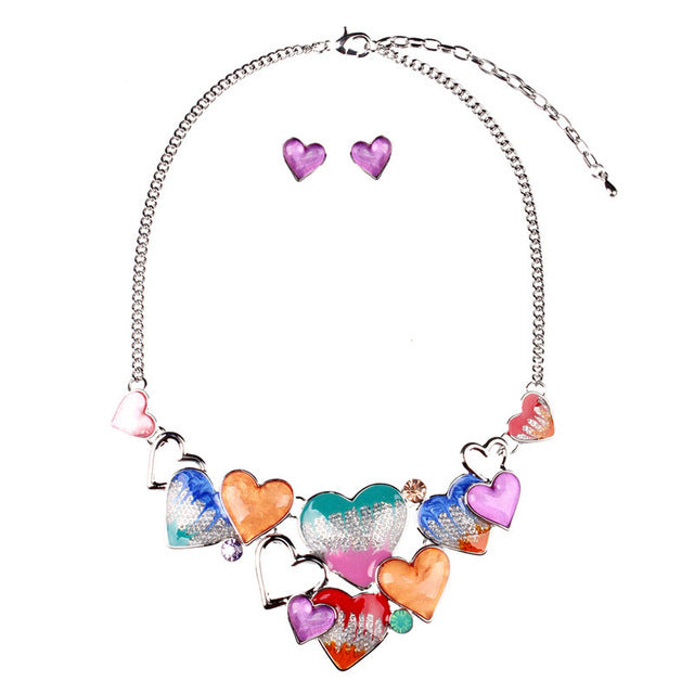 Resin Cute Heart Party Necklace And Earrings Enamel Heart Trendy Jewelry Sets For Women 2018 New Fashion Jewelry Sets