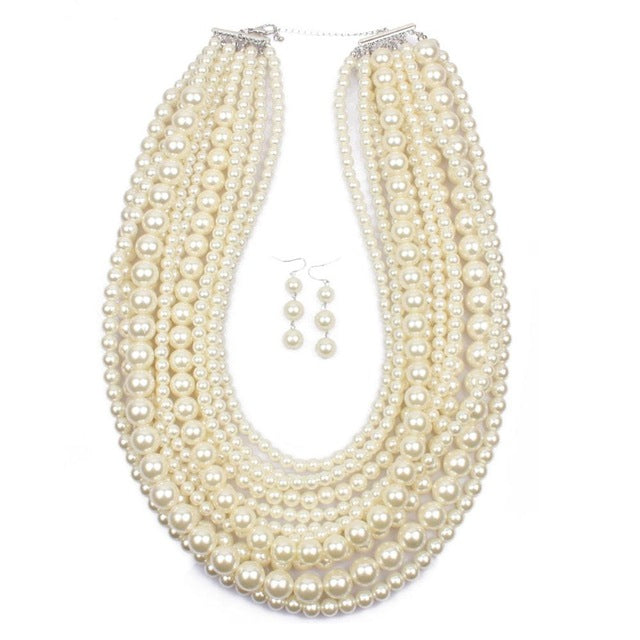 Luxury Pearl Jewelry Set Long Multilayer Pearl Necklace Women Earrings Classic Imitation Pearl Wedding Jewelry Set Strand Beads