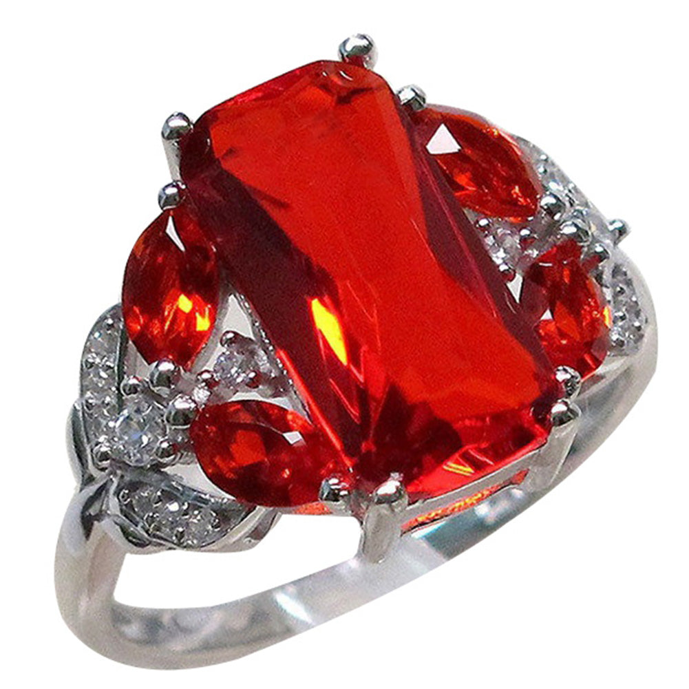 Women Red Square Rhinestone Fashion Finger Ring Engagement Anniversary Jewelry