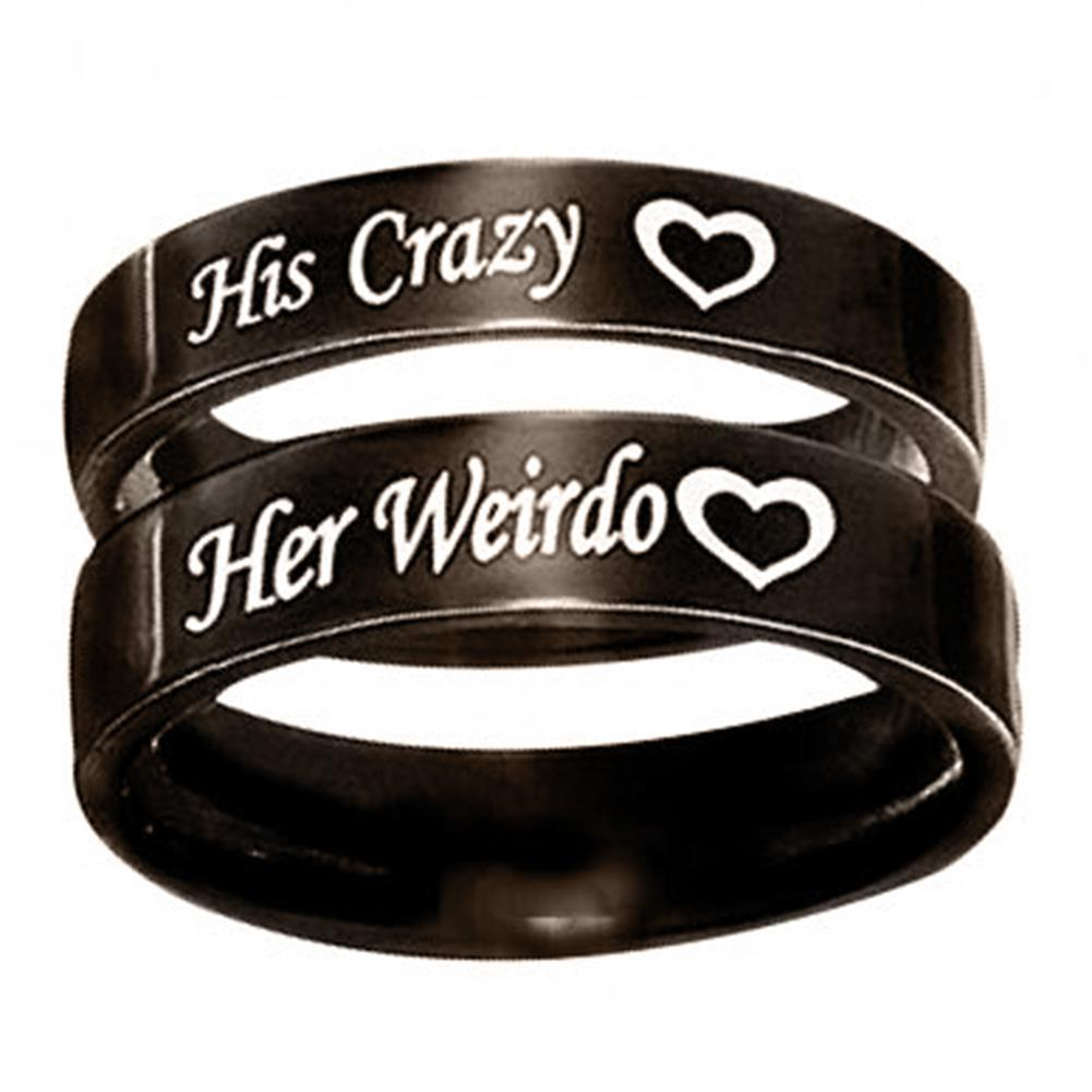 1Pc His Crazy Her Weirdo Wedding Engagement Letter Print Couple Ring Jewelry