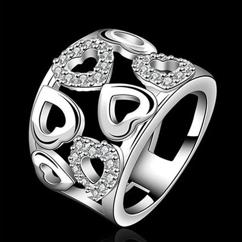Sterling Silver Rings For Women Plated Crystal Rhinestone Cluster Hollow Crystal Heart Ring  C7X6