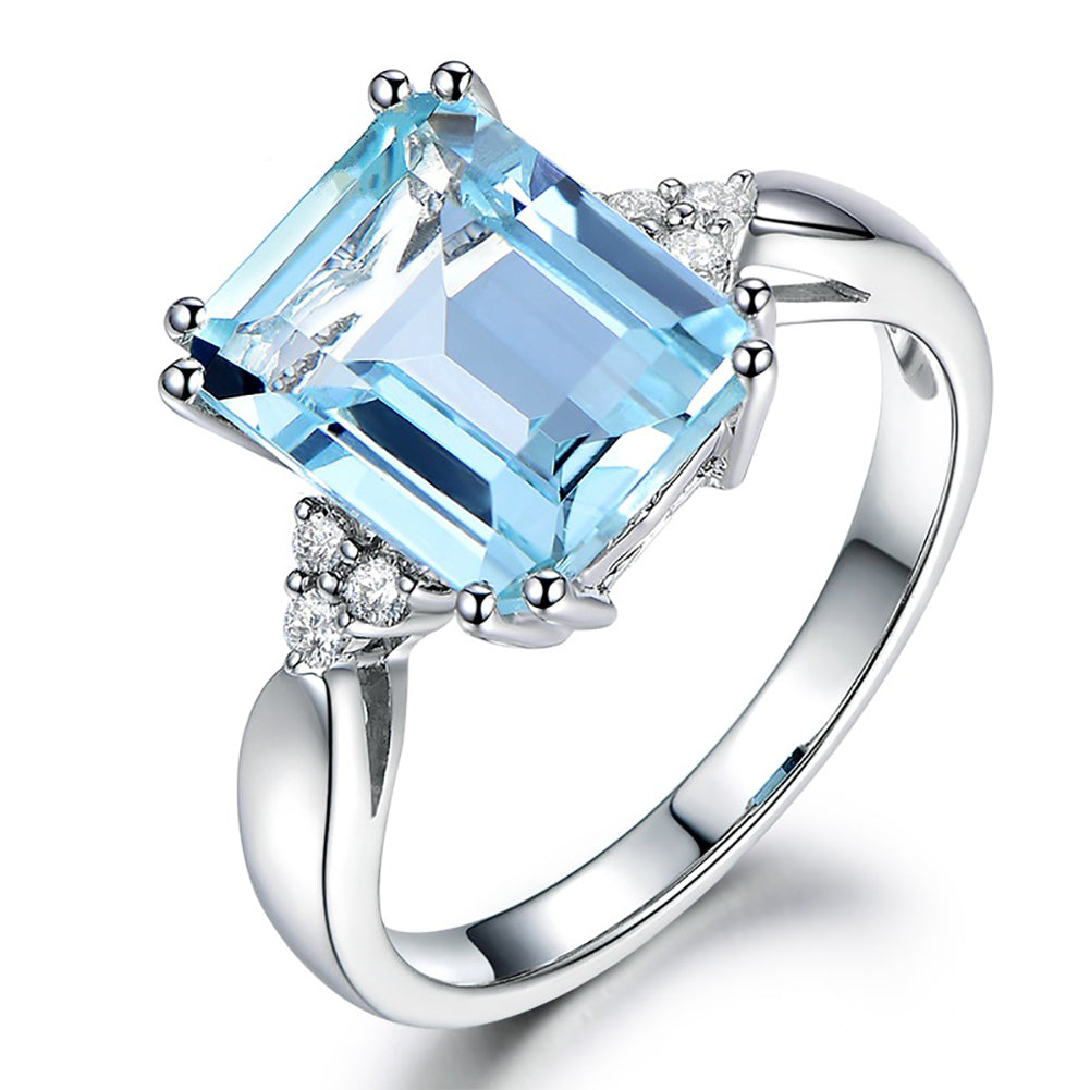 Engagement Wedding Jewelry Luxury Square Artificial Women Finger Ring Gift