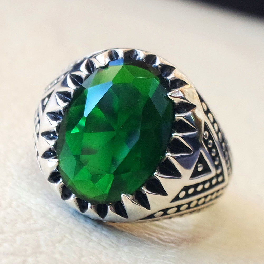Vintage Oval Green Rhinestone Alloy Finger Ring Men's Jewelry Gift Antique Silver Plated Aros anello anillo bague anel