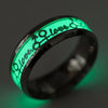 Image of Women Men Fashion Love Carving Luminous Stainless Steel Couple Band Ring Jewelry