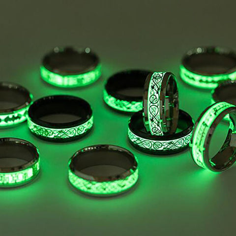 Women Men Fashion Love Carving Luminous Stainless Steel Couple Band Ring Jewelry