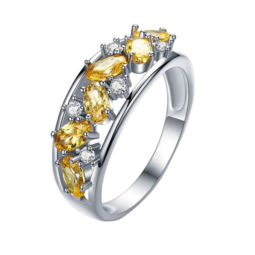 Anniversary Gift Yellow Oval Zircon Finger Ring Women Wedding Engagement Jewelry