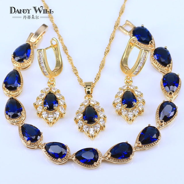 Simple Style Dubai Gold Color Jewellery Luxury Blue Cubic Zirconia Necklace Earring Bracelet Sets Party Jewelry Set For Women