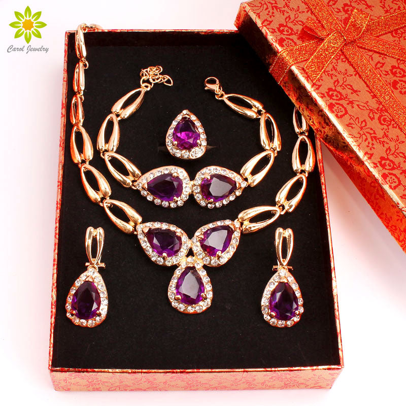 Fashion Wedding African Beads Jewelry Sets Crystal Necklace Set For Women Gold Color Jewelry Set Wedding Accessories+Gift Boxes