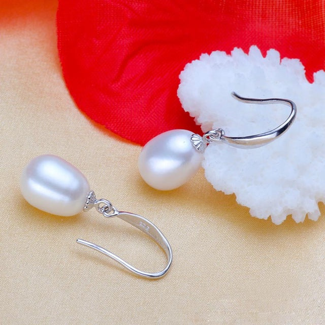 BSL Fashion Fine Jewelry Real 925 Sterling Silver Drop Earrings With Natural Freshwater Pearl For Women