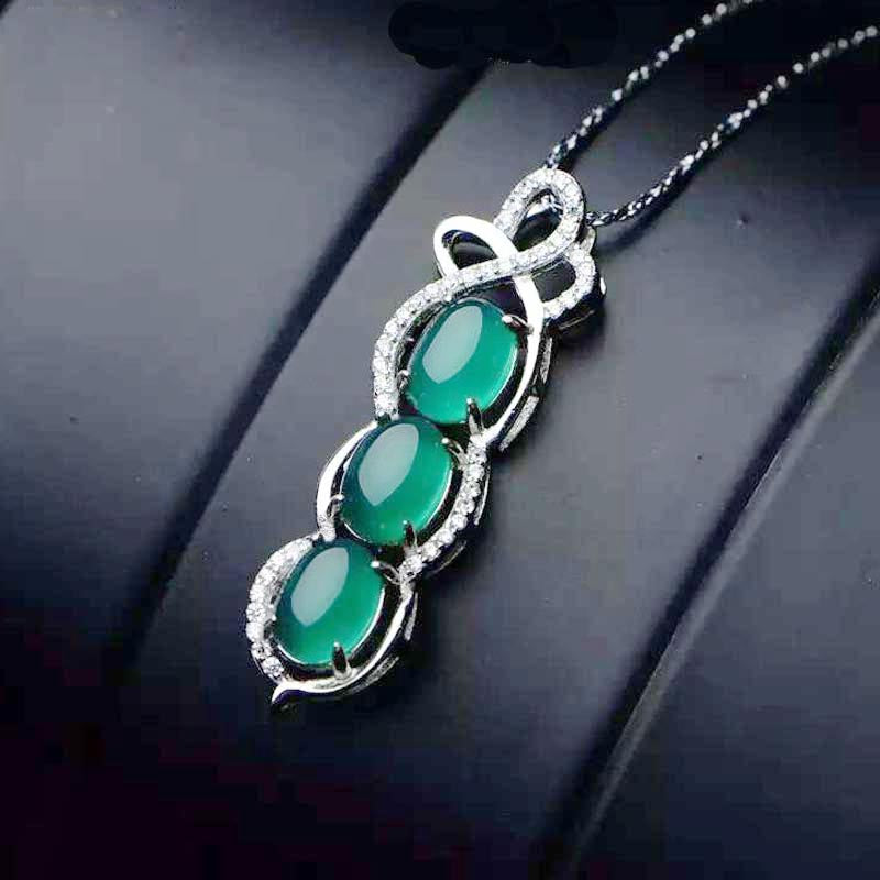 Red Trees Fine Jewelry 925 Sterling Silver Pendant Necklace Fashion Pea Shape Green Stone Necklace For Women Box Package