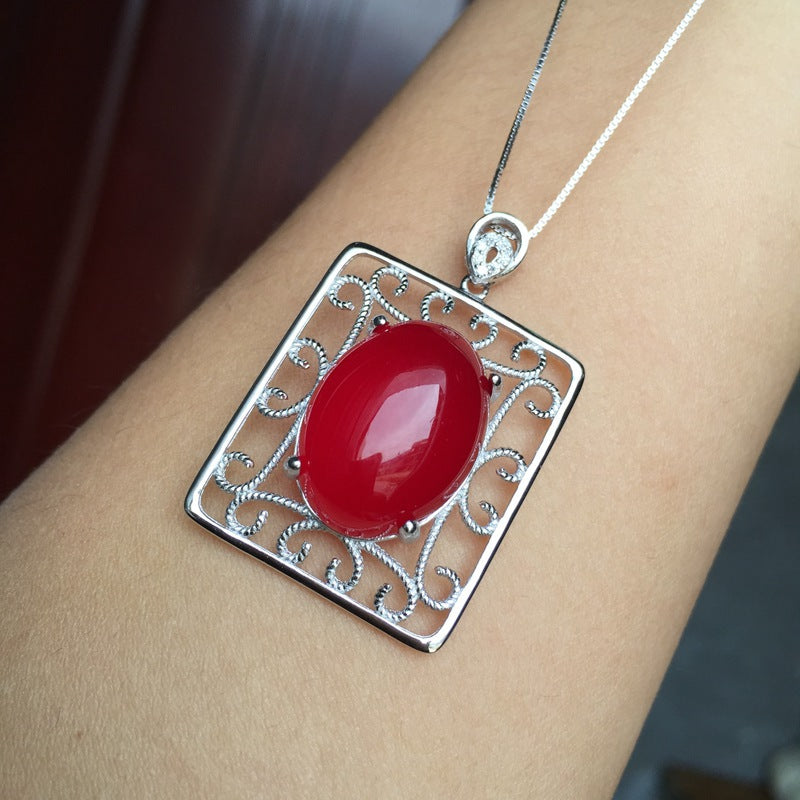 Red Trees Fine Jewelry Vintage 925 Sterling Silver Carnelian Natural Red Gemstone Necklace & Pendant For Women Box Package