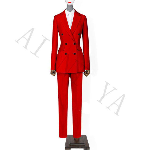 7441a8a6954c Hover to zoom · Jacket+Pants Women Business Suits Red Double Breasted ...