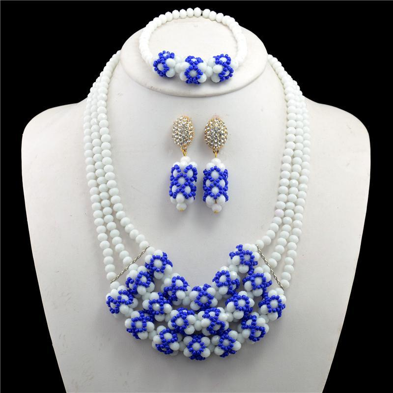 2017 African Beads Jewelry Set Wedding African Beads Jewelry Sets White Blue Nigerian Wedding African Beads Jewelry Set