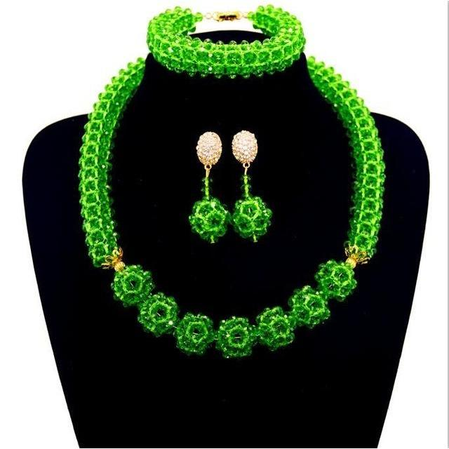 2017 Newest Nigerian Wedding African Beads Jewelry Set 12 color from india one layer earing and statement necklace sets