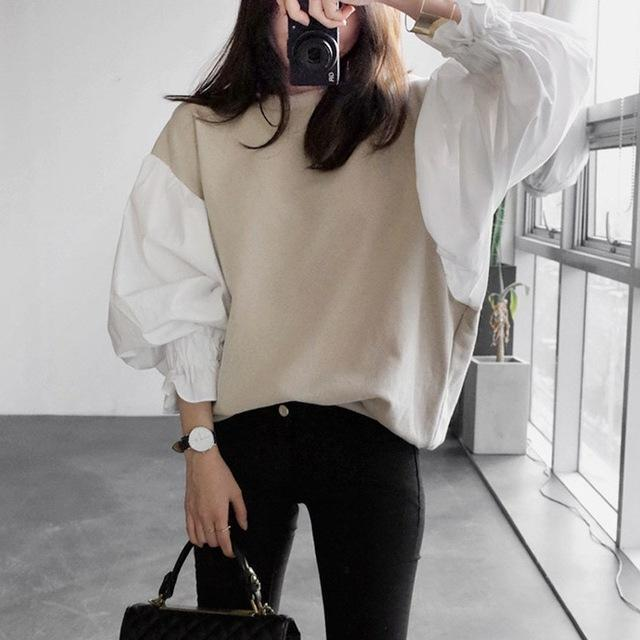 2017 Autumn Women Fashion New Round Neck Lantern Sleeve Women's Split Joint Short Sweatshirt