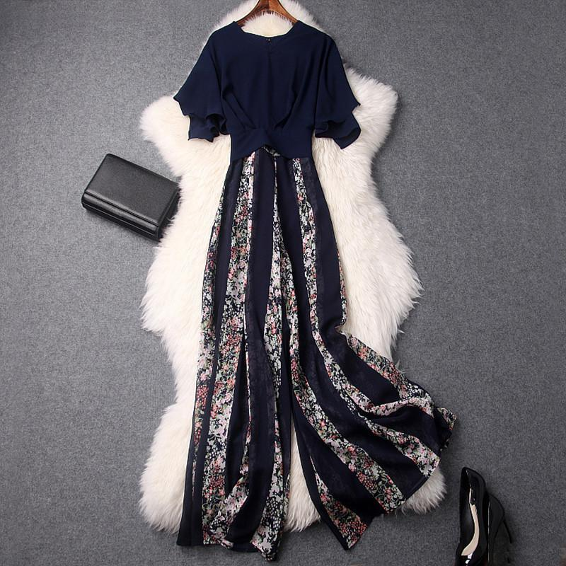2 PCS Women Sets 2018 Spring Casual Short Sleeve Chiffon Blouses   Flowers Wide Leg Pants Set
