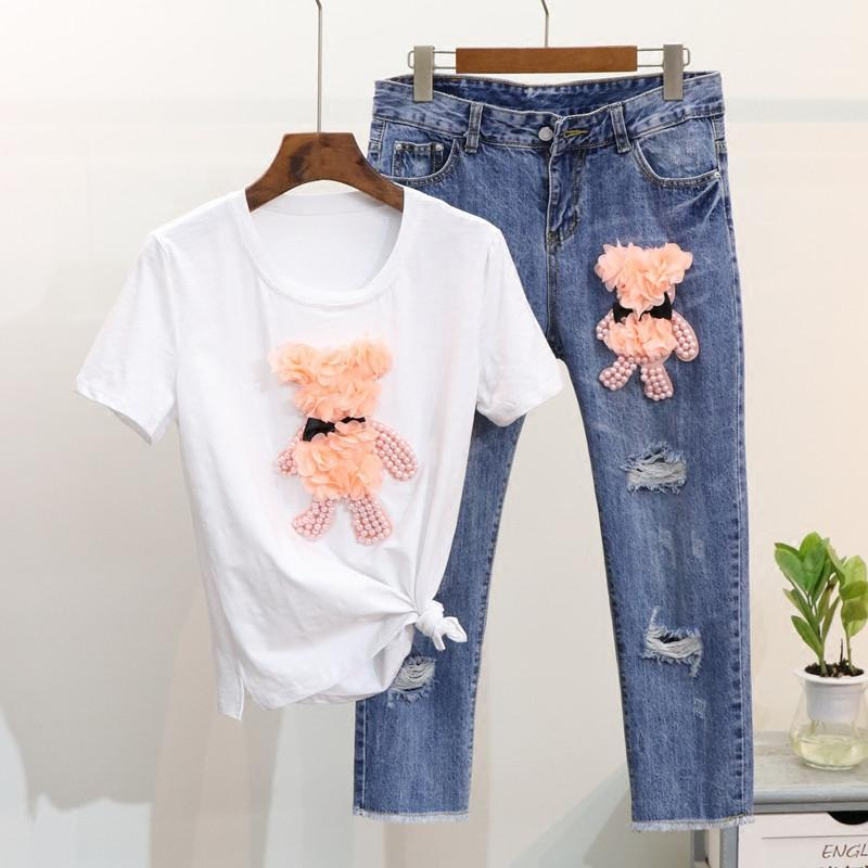 2 Colors 2018 Summer Casual Women Pink Pearls Bear Short Sleeve T-Shirt   Ripped Ankle Jeans Two Piece Set