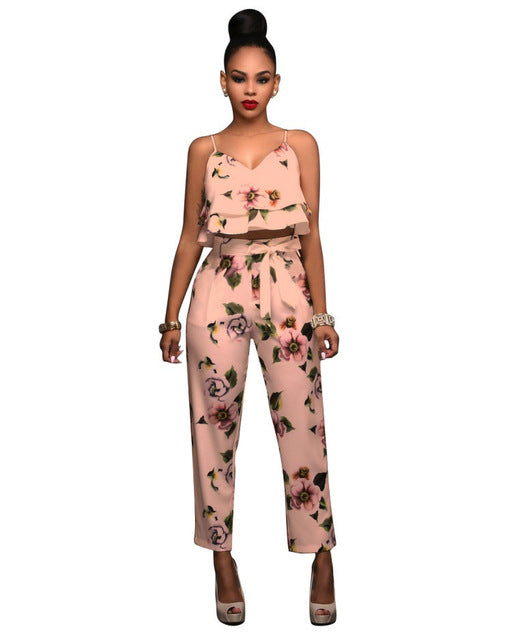 750f0ee44583a ... Sexy Crop Tops and Pants Set Fashion Floral Print Women 2 Piece Set  Summer Spaghetti Strap ...