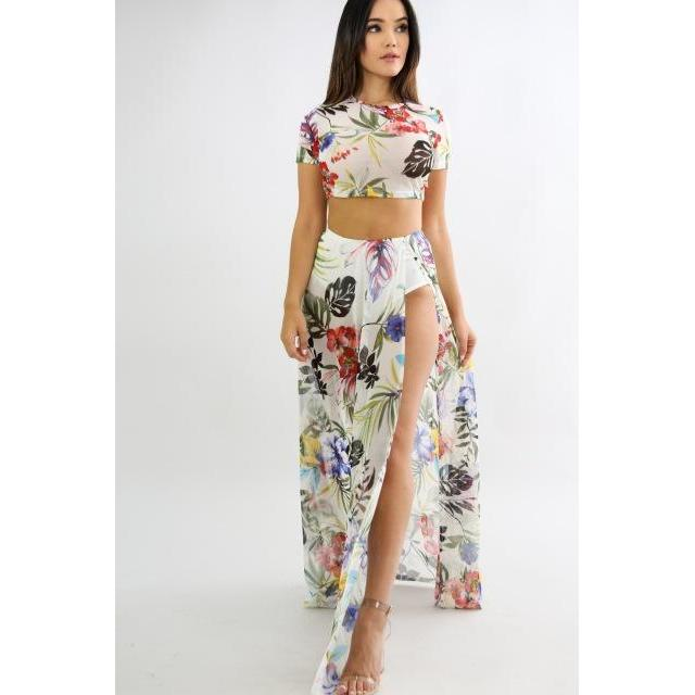 5315d864f3 ... Skirt Women 2 Piece Set Sexy Beach Casual Short Sleeve Floral Print Crop.  Hover to zoom