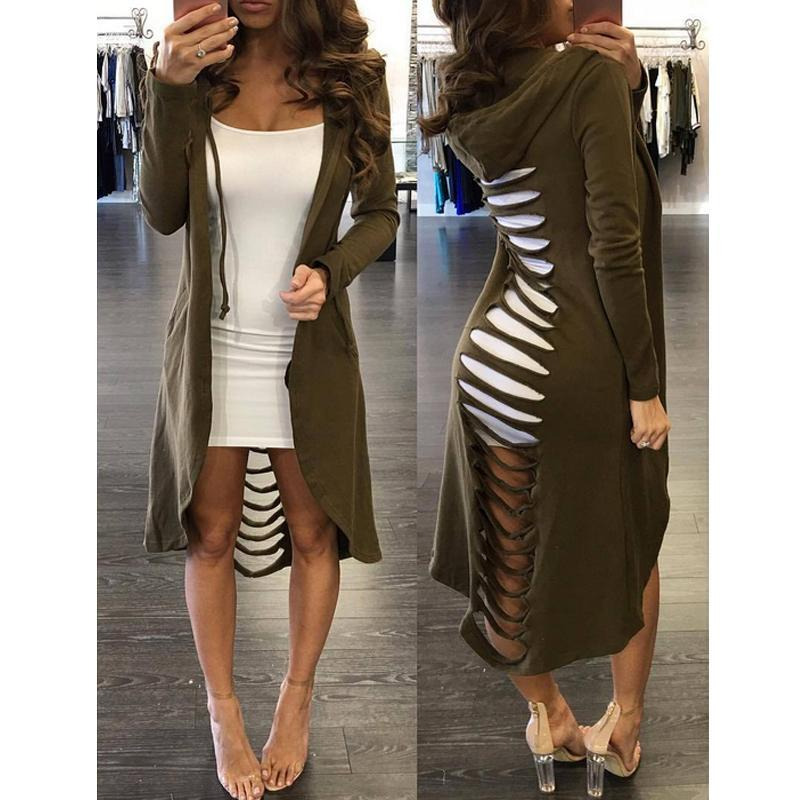 2017 Autumn And Winter New Gothic Women Ladies Cut Out Cardigan Long Ripped Back Hooded Hoodie Coat Sweater Fashion