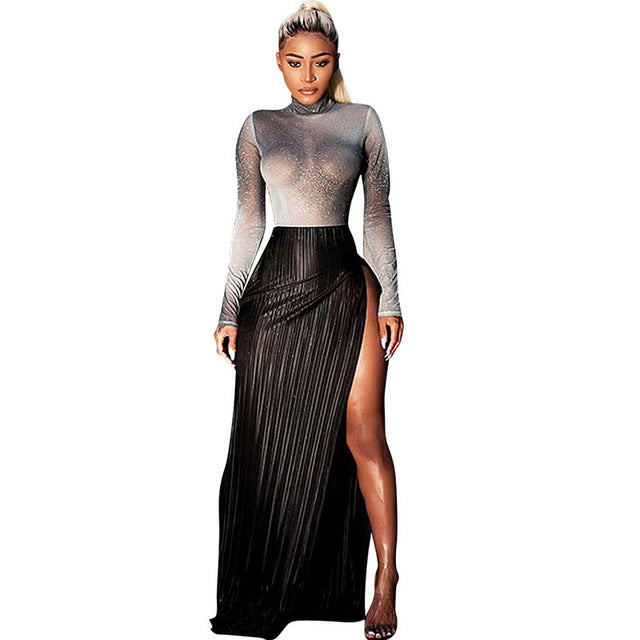 Women's Clothing Women Mesh Sheer Rhinestone Glitter Dress 2018 Autumn Spring Sexy Long Sleeve Two Piece Dresses Party Club Wear Crop Top Dress